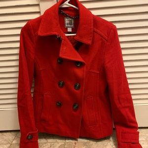 Red Pea Coat, Size Small